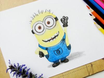 Как нарисовать миньона карандашами