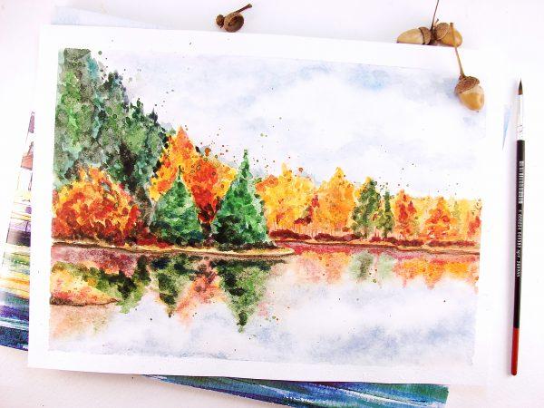 Осень акварелью