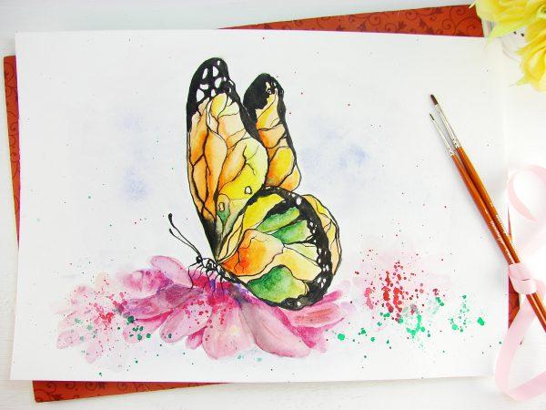 Бабочка акварелью