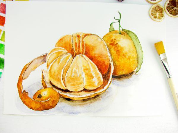 Мандарин акварелью