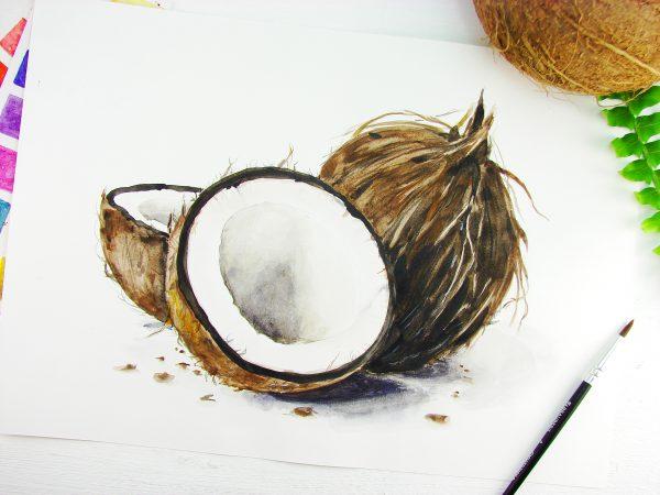 Кокос акварелью