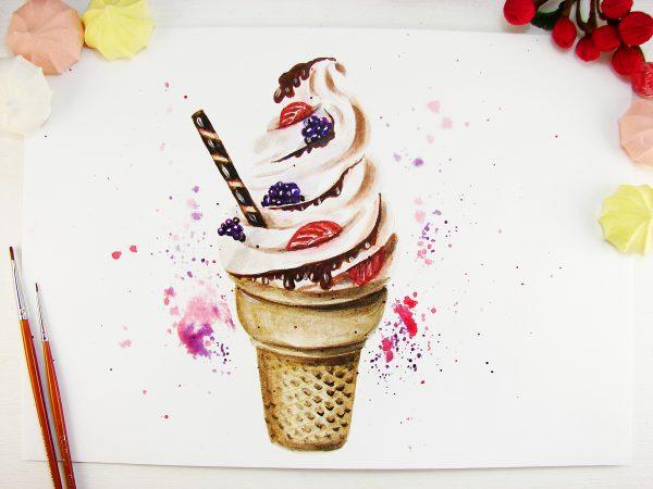 Мороженое акварелью