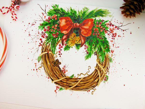 Рождественский венок акварелью