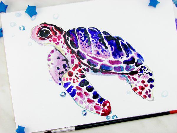 Черепаха акварелью