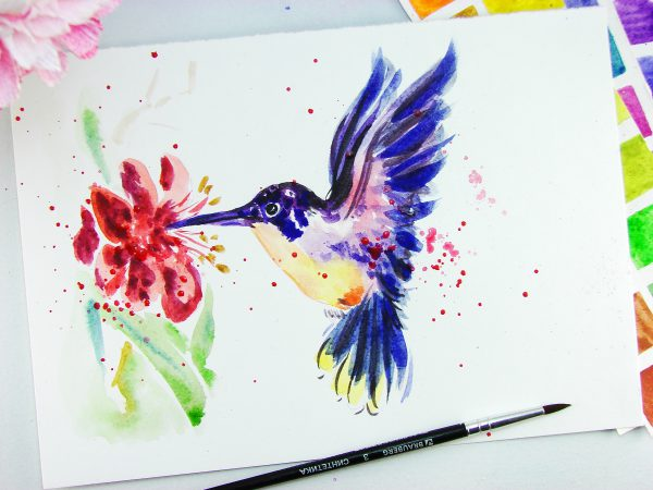 Колибри акварелью