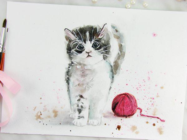 Кошка акварелью