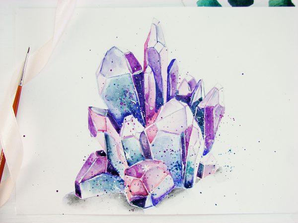 Кристаллы акварелью