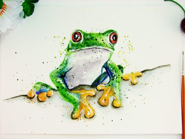 Лягушка акварелью