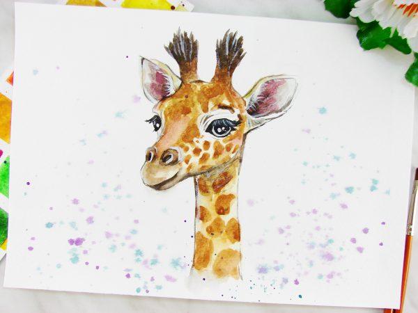 Жираф акварелью