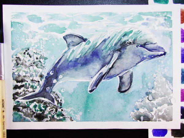 Дельфин акварелью