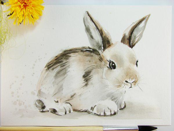 Кролик акварелью