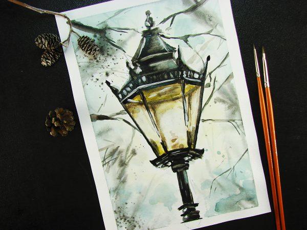 Уличный фонарь акварелью
