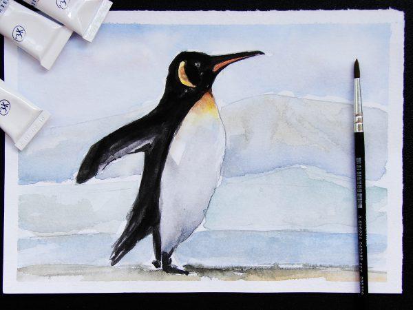 Пингвин акварелью