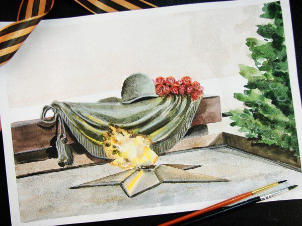 Рисунок к 9 мая акварелью