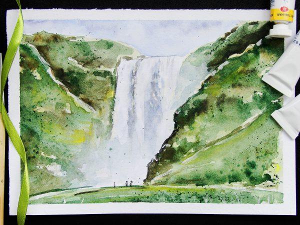 Водопад акварелью