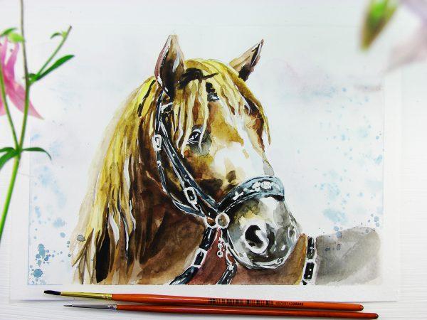 Лошадь акварелью