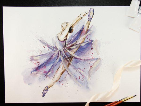 Балерина акварелью