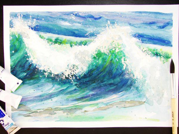 Волна акварелью