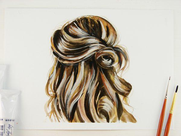Волосы акварелью