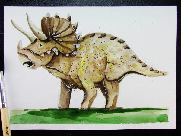 Динозавр акварелью
