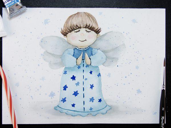 Рождественский ангел акварелью