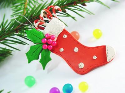 Рождественский носок из пластилина