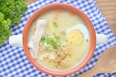 Суп с пшеном и яйцом на курином бульоне