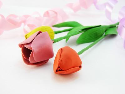 Тюльпан из пластилина