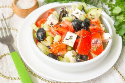 рецепты салат греческий с креветками