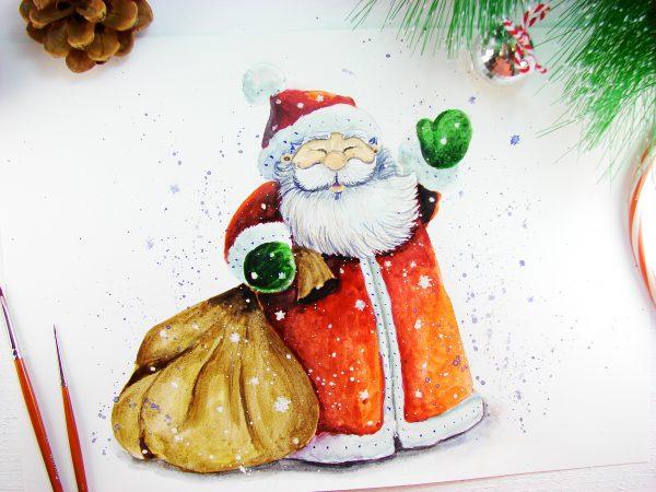 Дед Мороз акварелью