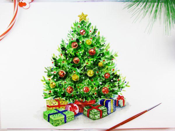 Новогодняя елка акварелью