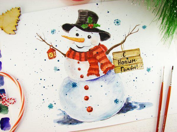 Снеговик акварелью