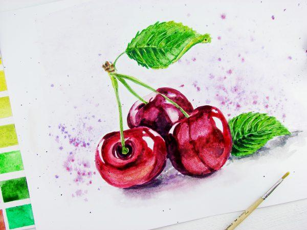 Ягоды вишни акварелью