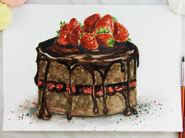 Торт акварелью