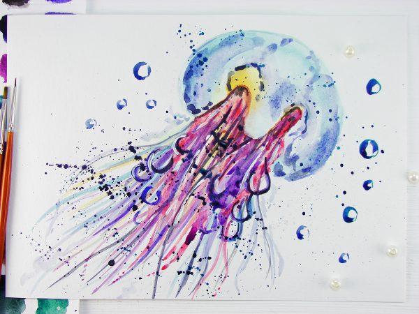 Медуза акварелью