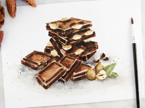Шоколад акварелью