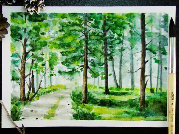 Лес акварелью