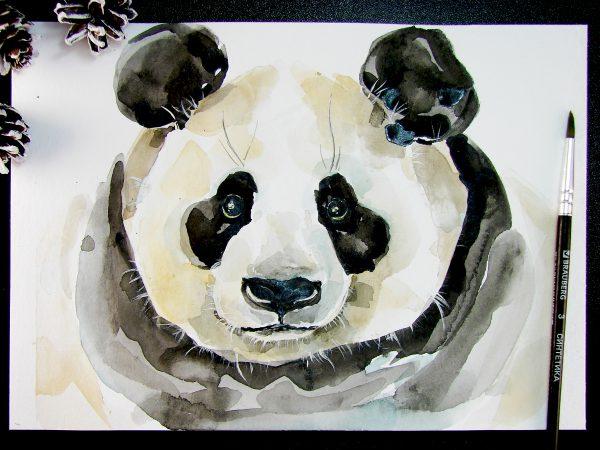 Панда акварелью