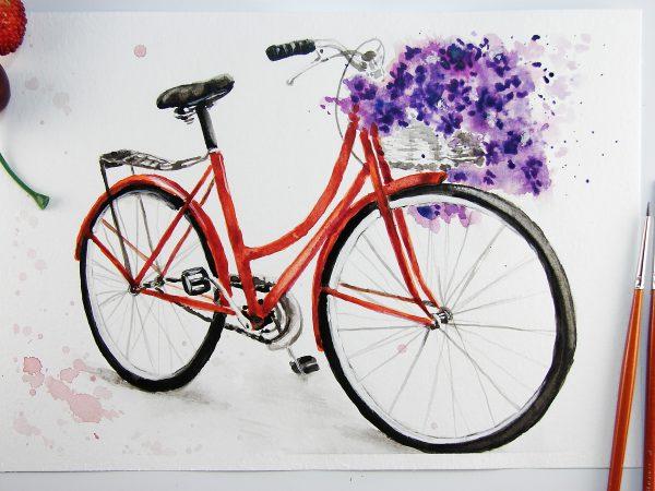 Велосипед акварелью