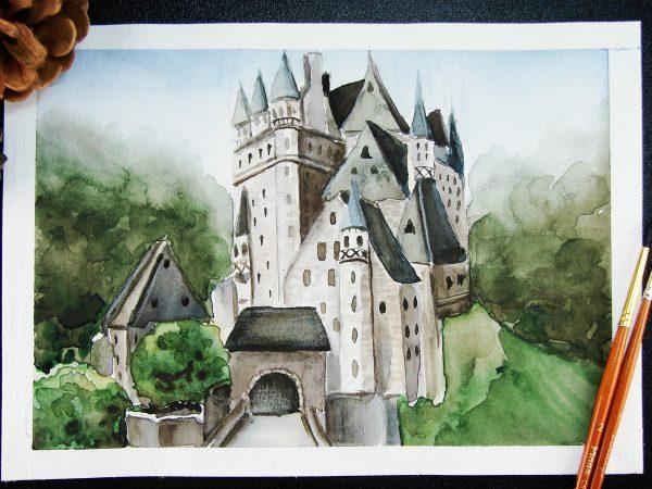 Замок акварелью