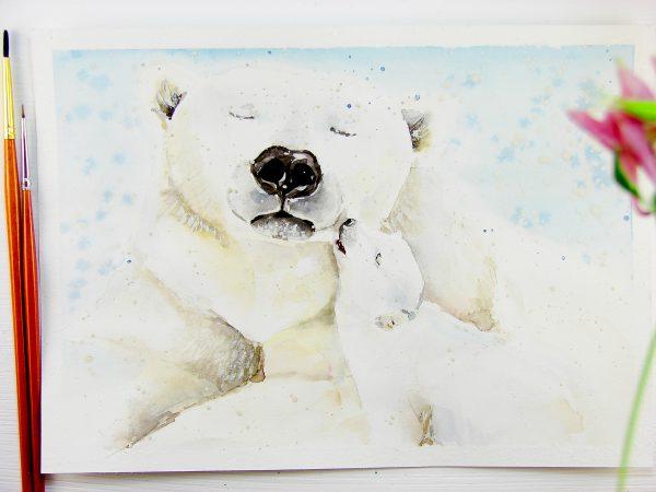 Белый медведь акварелью