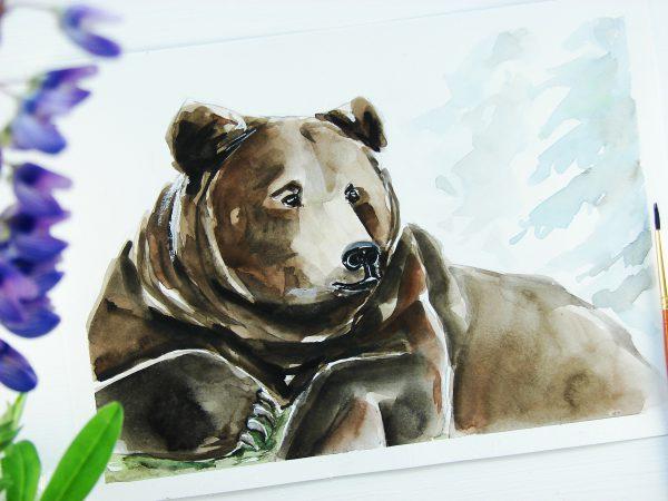 Медведь акварелью