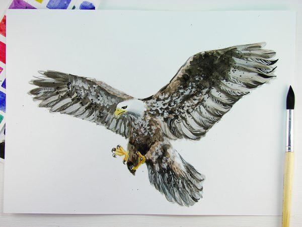 Орел акварелью