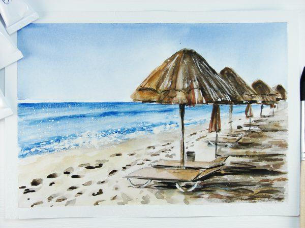 Пляж акварелью