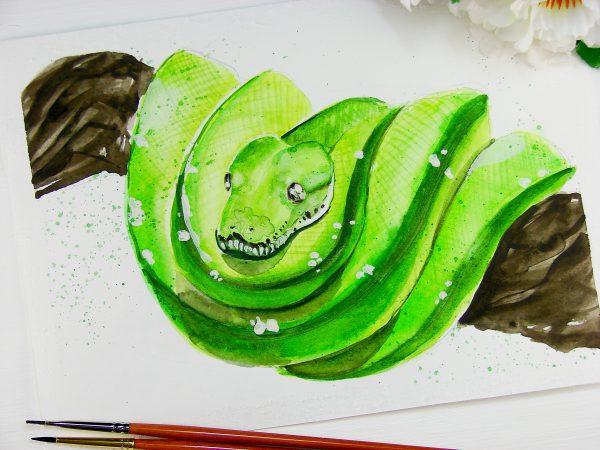 Змея акварелью