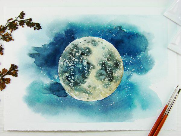Луна акварелью