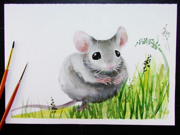 Мышка акварелью