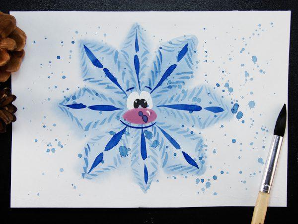 Снежинка акварелью